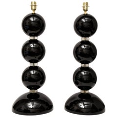 Pair of Large Black and Gold Murano Glass Spheres Lamps, Italy, Signed