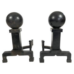 Pair of Large Black Cast Iron Ball Andirons