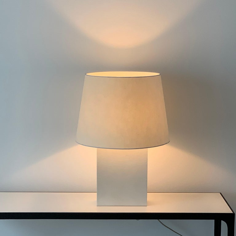 Large 'Bloc' parchment table lamp by Design Frères.
