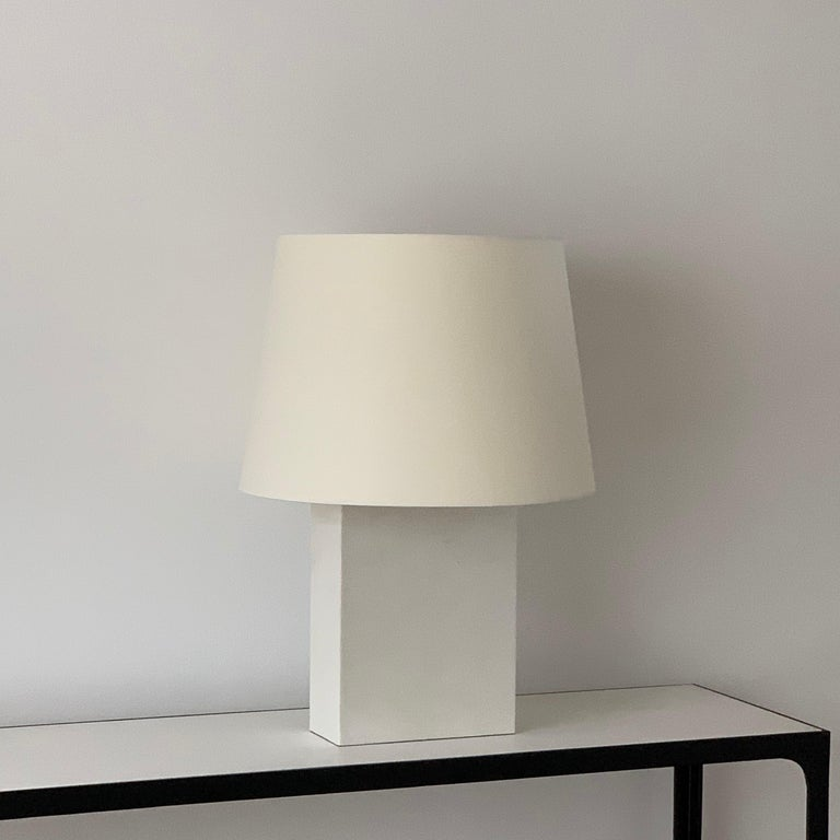 French Pair of Large 'Bloc' Parchment Table Lamps by Design Frères For Sale