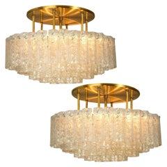 Pair of Large Blown Glass Brass Flushmount Light Fixtures by Doria