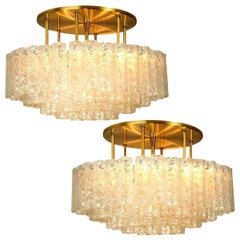 Pair of Large Blown Glass Brass Flushmount Light Fixtures by Doria