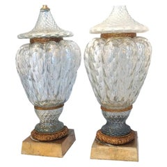 Pair of Large Blown Glass Lamps