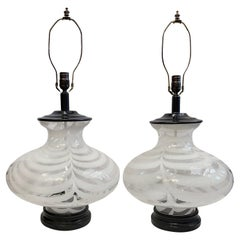 Pair of Large Blown Glass Table Lamps