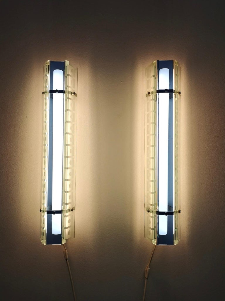 Pair of Large Blue and Clear Engraved Glass Sconces by ERCO, Germany, 1970s For Sale 1