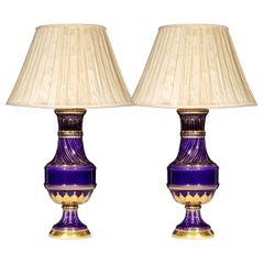 Pair of Large Blue and Gold Vase Lamps in Sevres Style