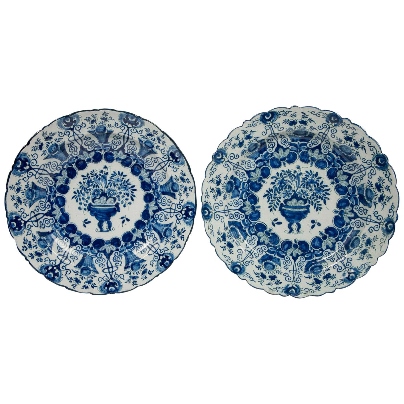 Pair of Large Blue and White Delft Chargers Made, circa 1780