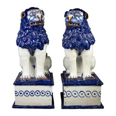 Pair of Large Blue and White Delft Lions, Luneville, circa 1840