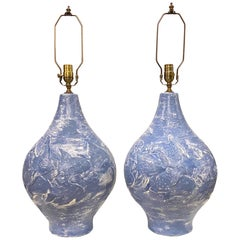 Pair of Large Blue and White Fish Motif Lamps