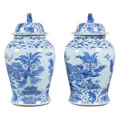 Pair of Large Blue and White Ginger Jars