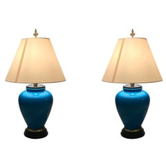 Pair of Large Blue Ceramic Lamps by Frederick Cooper