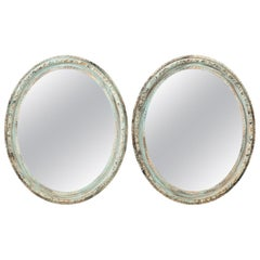 Pair of Large Blue Oval Mirrors