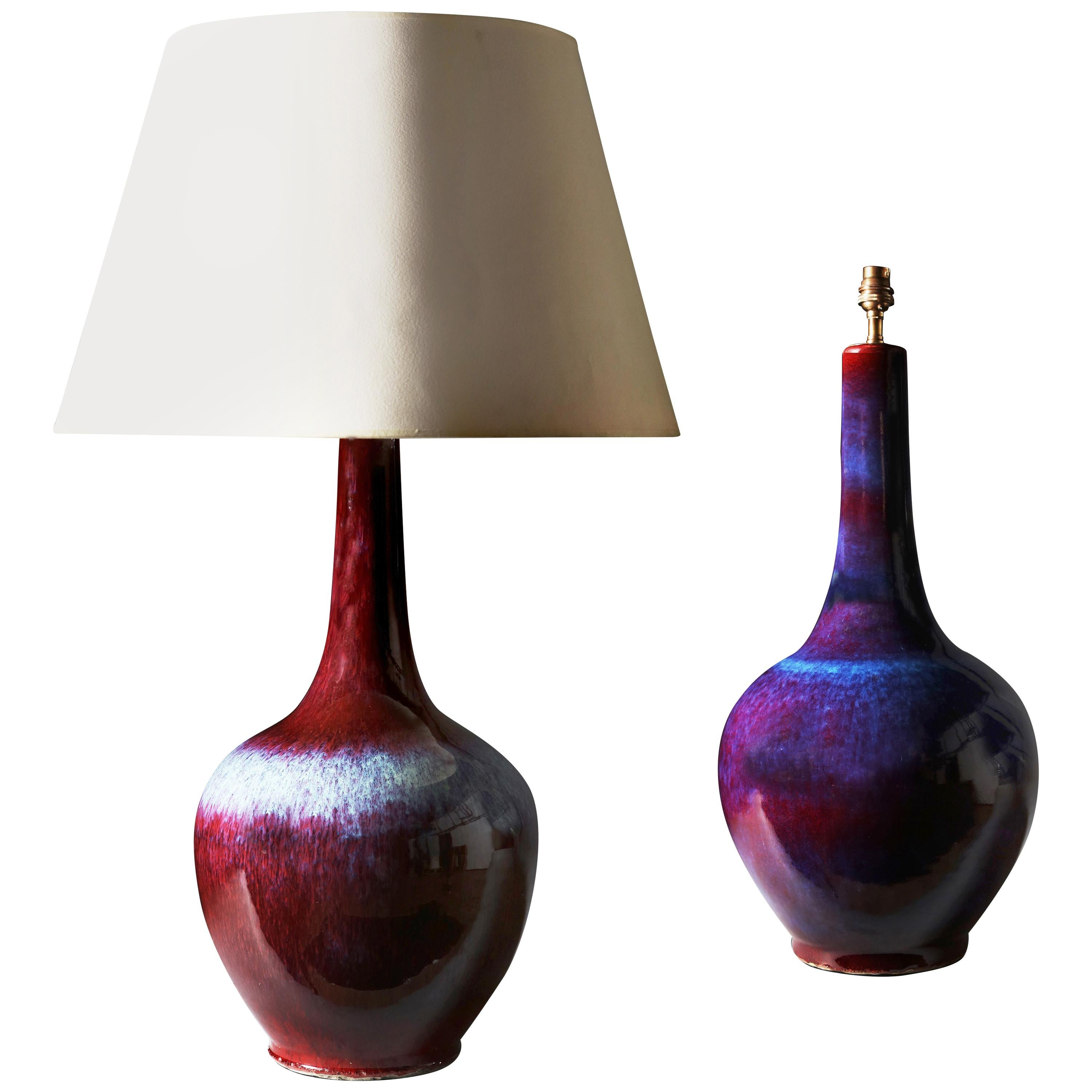 Genial Pair Of Large Blue U0026 Red 20th Century Chinese Flambé Vases As Table Lamps  For Sale
