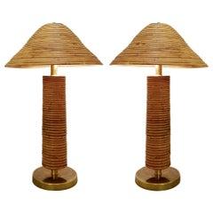 Pair of Large Brass and Bamboo Table Lamps