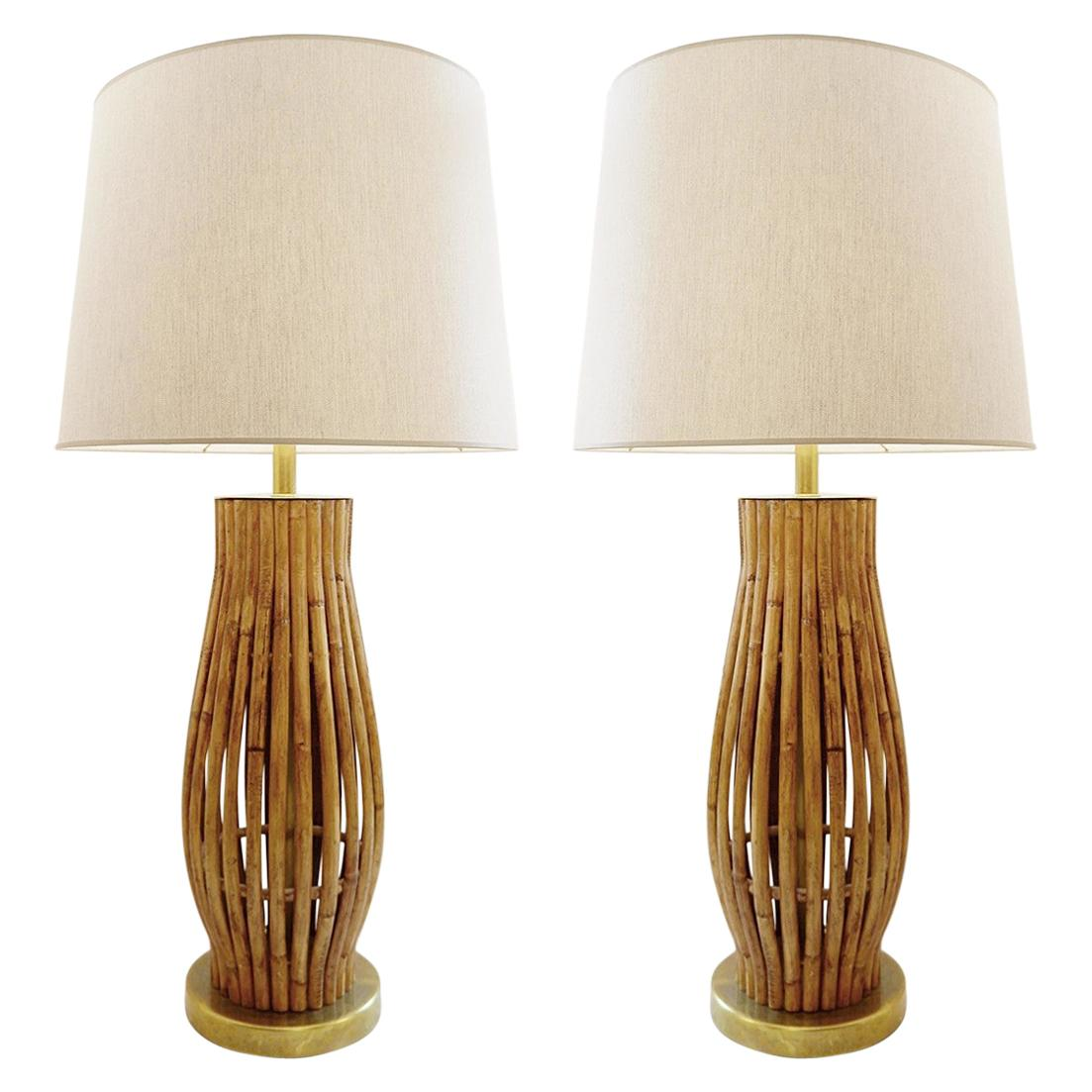 Pair of Large Mid-Century Modern Brass and Bamboo Table Lamps