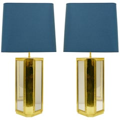 Pair of Large Brass and Mirror Table Lamps