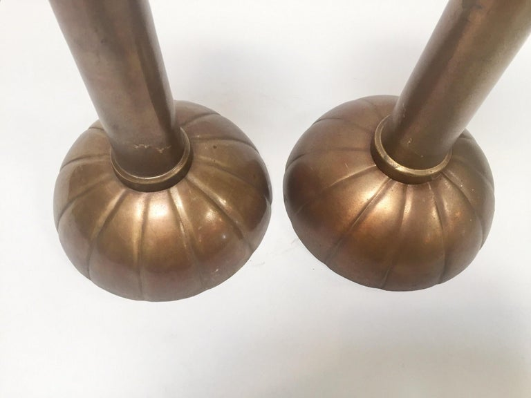 Mid-Century Modern Pair of Large Brass Candlesticks on a Round Scalloped Base and Top For Sale