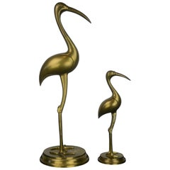 Pair of Large Brass Crane Bird Sculptures, 1960s