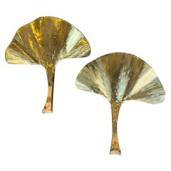 Pair of Large Brass Finish Gingko Leaf Wall Sconces in the Style of Barbi