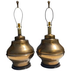 Pair of Large Brass Ginger Jar Lamps