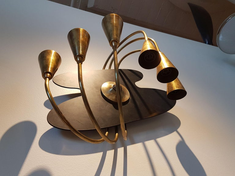 Mid-20th Century Pair of Large Brass Mid-Century Modern Wall Sconces, Stilnovo Style, 1960