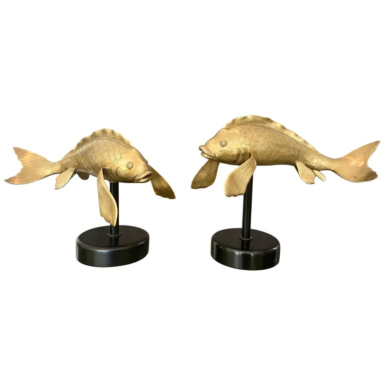 Pair of Large Brass Koi Fish Figural Sculptures For Sale