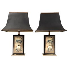 Pair of Large Brass & Lacquer Pagoda Lamps Jean-Claude Mahey, France, circa 1970