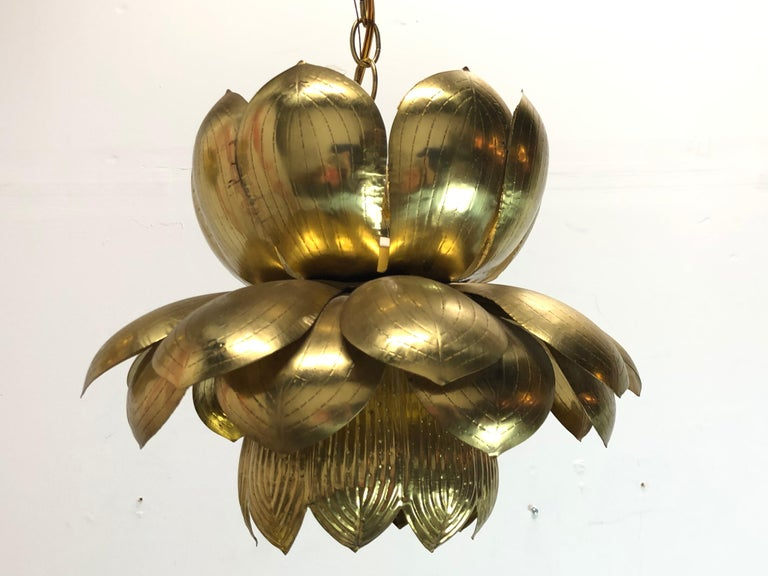 Pair of Large Brass Lotus Pendants For Sale 6