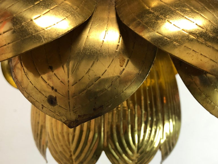 Pair of Large Brass Lotus Pendants In Good Condition For Sale In Dallas, TX