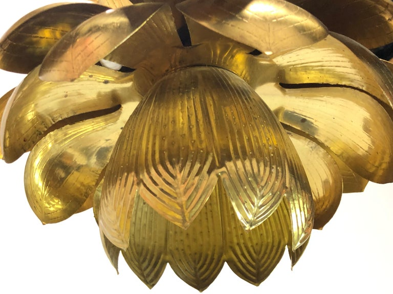 20th Century Pair of Large Brass Lotus Pendants For Sale