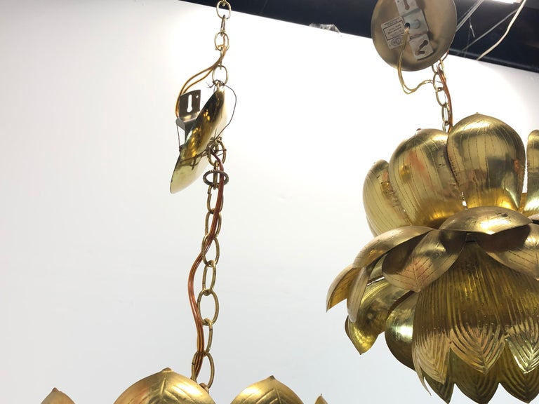 Pair of Large Brass Lotus Pendants For Sale 4