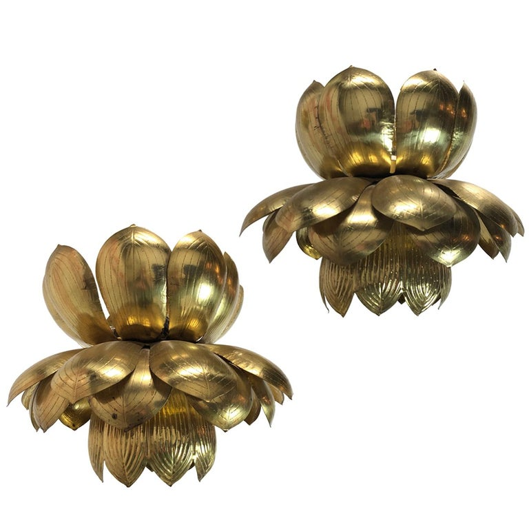 Pair of Large Brass Lotus Pendants For Sale