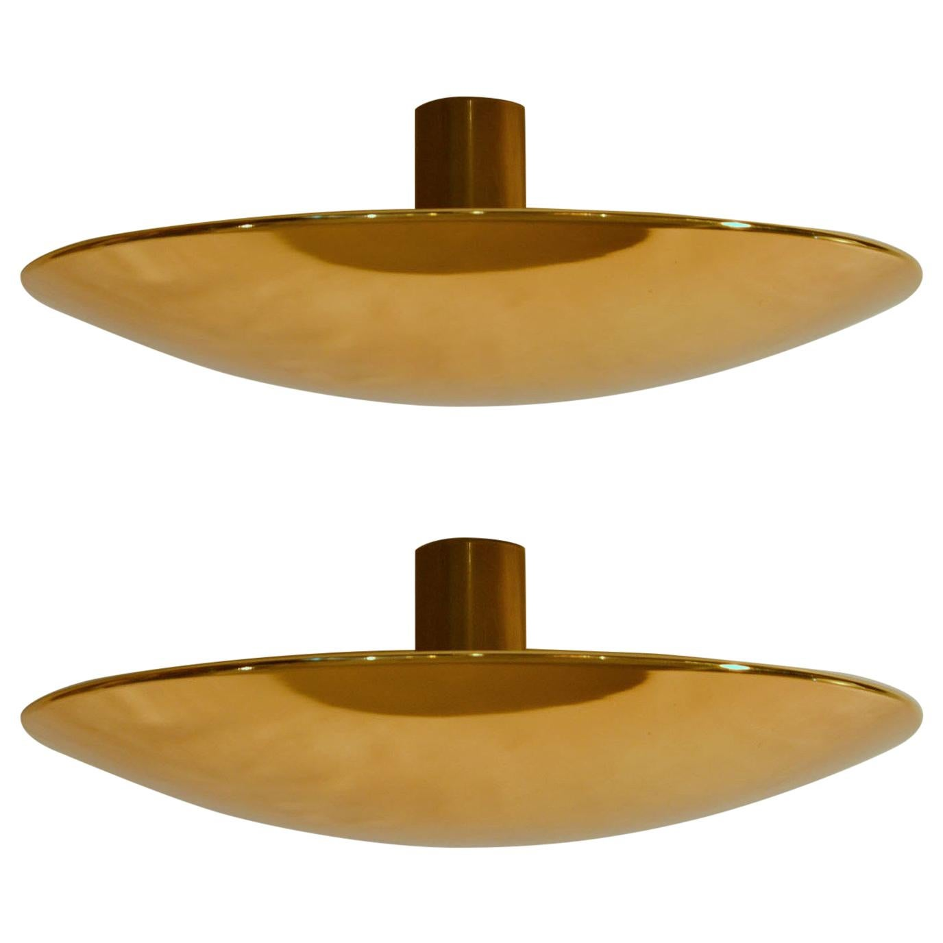 Pair of Large Brass Flush Mount Ceiling or Wall Lights by Florian Schulz
