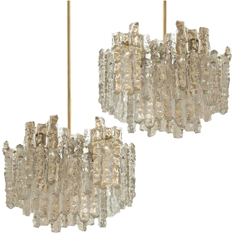 Pair of large brass modern ice glass chandeliers by jt kalmar pair of large brass modern ice glass chandeliers by jt kalmar austria for sale aloadofball Gallery