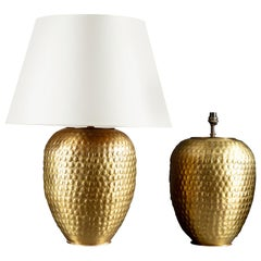 Pair of Large Brass Punched Metal Vases as Table Lamps