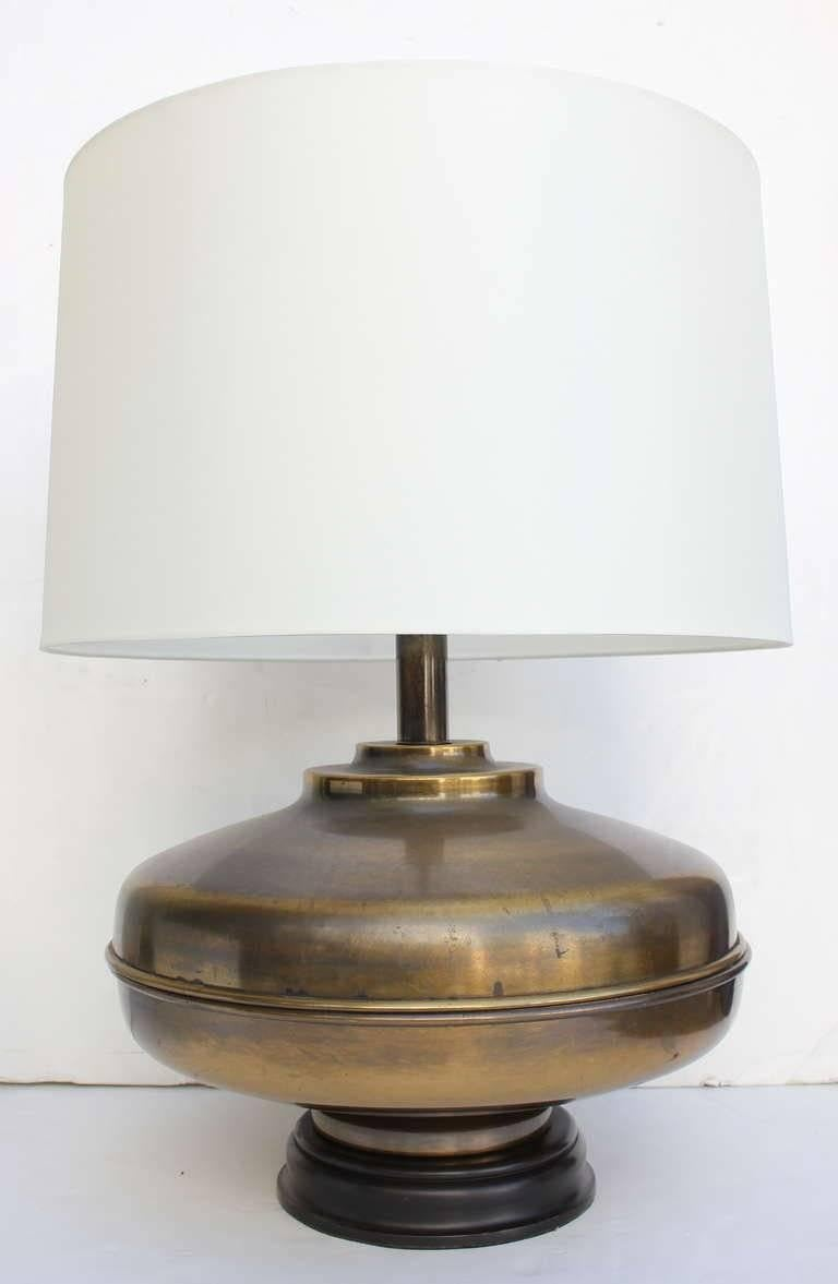 Pair of large brass table lamps. Lamps Rewired. Restored. Double clusters silk cord  Lampshades $400 each.