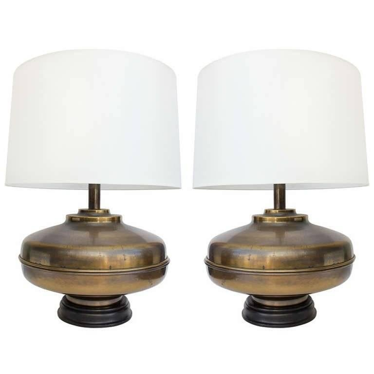 Pair of Large Brass Table Lamps For Sale