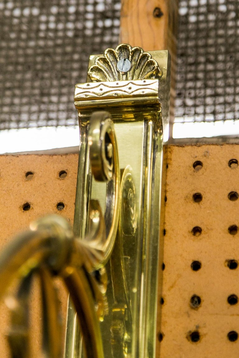 Late 19th Century Pair of Large Brass Wall Sconces For Sale