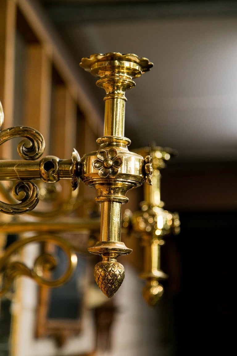 Pair of Large Brass Wall Sconces For Sale 2