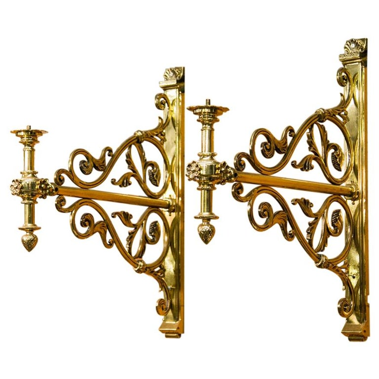 Pair of Large Brass Wall Sconces For Sale