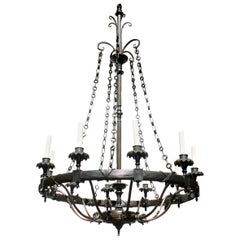 Pair of Large Bronze Chandeliers, Sold Individually