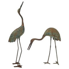 Pair of Large Bronze Cranes