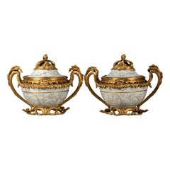 Pair of Large Bronze-Mounted Celadon and Gilt Covered Potpourri Jars, circa 1870