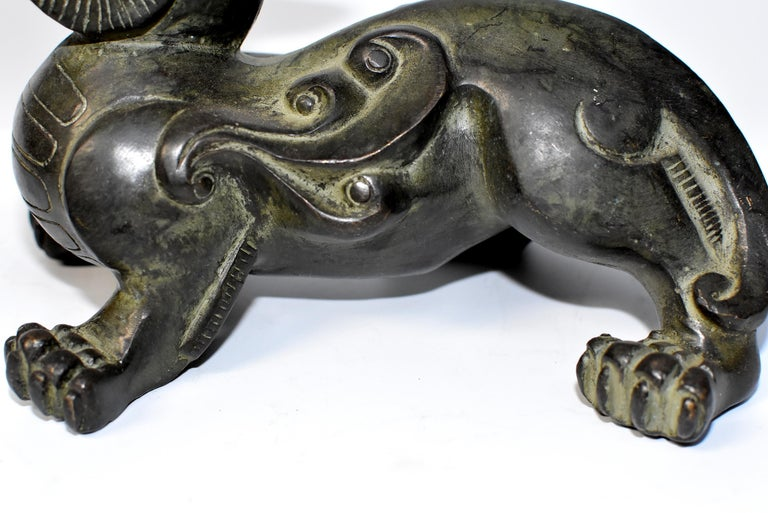 Pair of Large Bronze Pixiu Lions with Turtle Shells, Doorstops, Paperweights For Sale 3