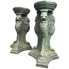 Pair of Large Bronze Planters or Garden Urns