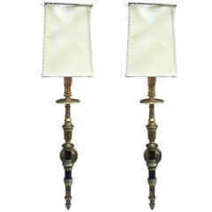 Pair of Large Bronze Sconces circa 1940, Parchment Lampshade