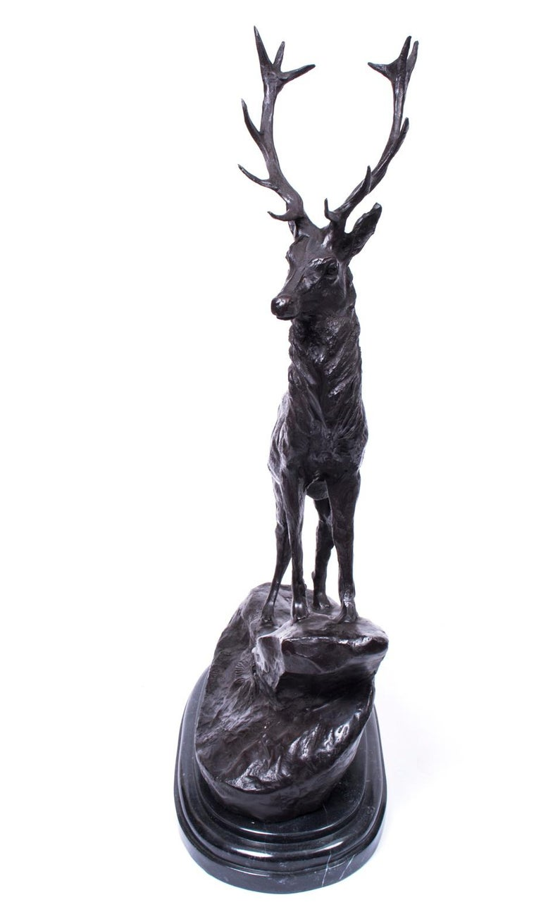 Bronze Stag on Rocky Outcrop Solid Marble Base