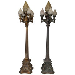 Pair of Large Bronze Torchieres