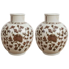 Pair of Large Brown and White Chinese Export Vases