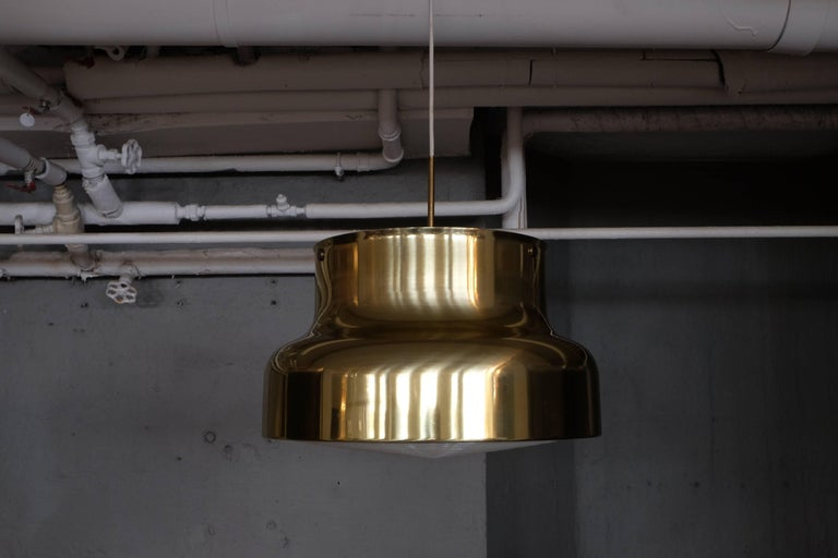 Scandinavian Modern Pair of Large Bumling Ceiling Pendants in Brass, Sweden, 1960s